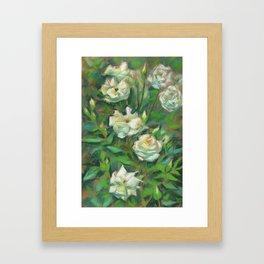 White roses, green leaves Framed Art Print