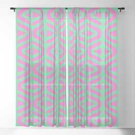 Mid Century Modern Split Triangle Pattern Pink and Green Sheer Curtain