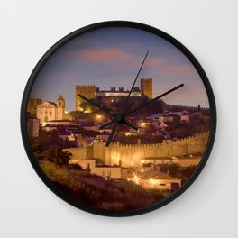 Obidos castle at dusk, Portugal Wall Clock
