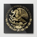 Mexican flag seal in sepia tones on black bg by brucestanfield