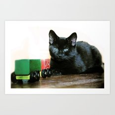 Ollie and the toy lorry Art Print