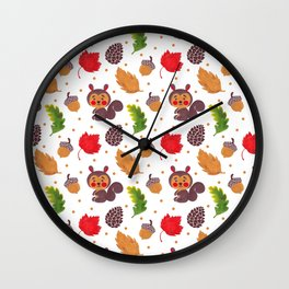 Brown red Autumn floral happiness squirrel polka dots Wall Clock