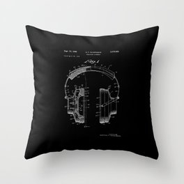 Headphones Patent - White on Black Throw Pillow