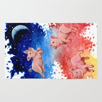 pigs Area & Throw Rugs featuring 3 Pigs by Priscilla George