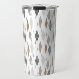 Danish Diamond Mid-Century Geometric Print Tan Travel Mug