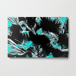 palm leaf abstract with blue background Metal Print