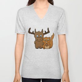 Moose and squirrel Unisex V-Neck