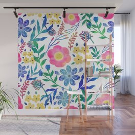 Stylish girly pink flowers hand paint design Wall Mural