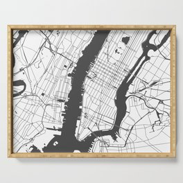 New York City White on Gray Street Map Serving Tray