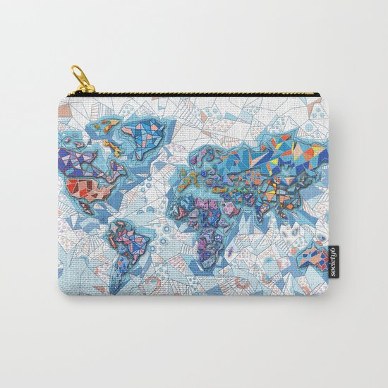 world map geometry white Carry-All Pouch