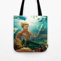aquaman Tote Bags featuring Aquaman Black Lagoon (Dark Water Version)  by Brian Hollins art