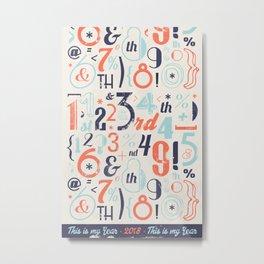 Numbers Retro 2018 - Notebooks & more Metal Print