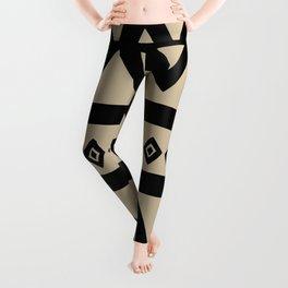Hand Drawn Tribal - Triangle Stripes Pattern Leggings