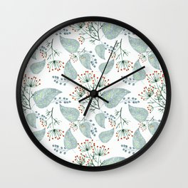 Delicate floral pattern on white. Wall Clock
