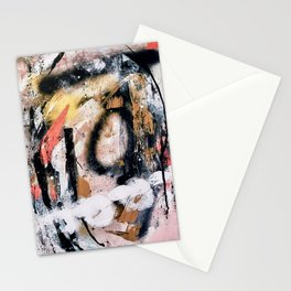 Lightning Soul: a vibrant colorful abstract acrylic, ink, and spray paint in gold, black, pink Stationery Cards