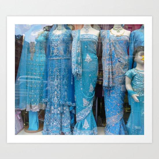 Blue Saris for Sale Art Print