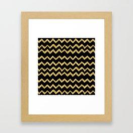 Golden Chevron on Black Background Framed Art Print