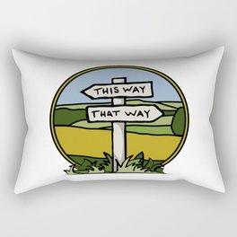 Signpost at a crossroads Rectangular Pillow