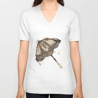 victorian V-neck T-shirts featuring Victorian Parasol by Jess Stewart-Croker