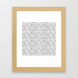 Thank you pattern Framed Art Print