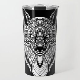 Hand Drawn Fox - Black Travel Mug