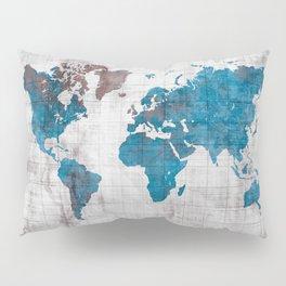 world map 96 blue #worldmap #map Pillow Sham