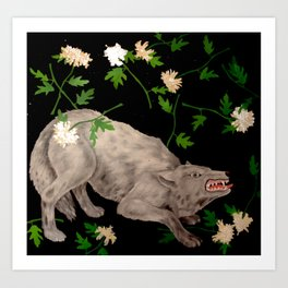 Wolf in ecstasy Art Print