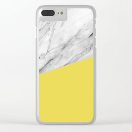 Marble with Meadowlark Yellow Color Clear iPhone Case