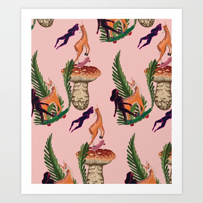Deer to skate Art Print