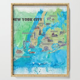New York City Favorite Travel Map with Touristic Highlights Serving Tray