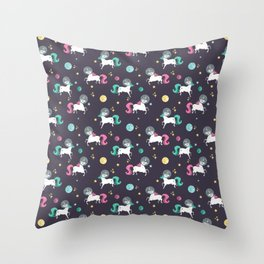 Space Unicorn Pattern Throw Pillow