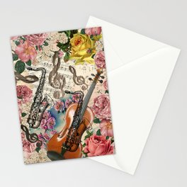 Vintage pink bohemian roses classical notes musical instruments Stationery Cards