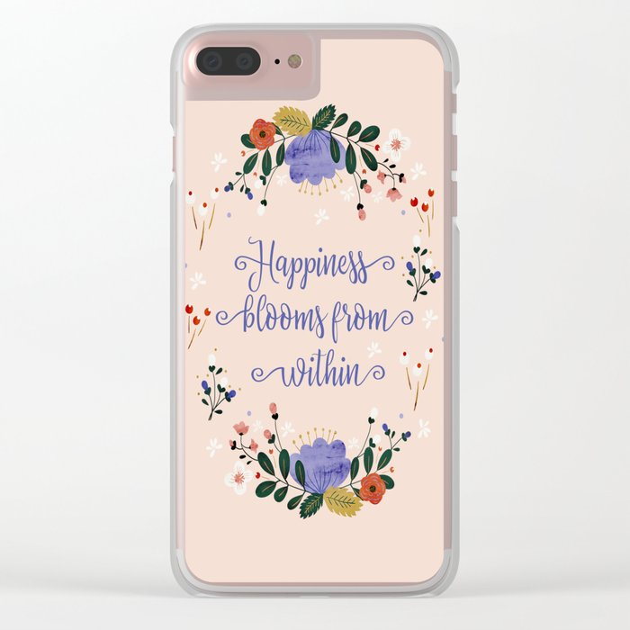 Happiness blooms from within- delicate pattern Clear iPhone Case