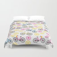 cycle Duvet Covers featuring Lime-cycle by SannaDavidsson