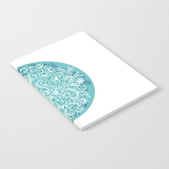 Spring Arrangement - teal & white floral doodle Notebook