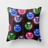 monsters Throw Pillows featuring Monsters by CLE.ArT.