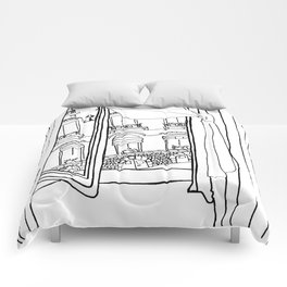 Window View in France  //  ink drawing Comforters