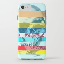 Striped Glitch Skull iPhone Case