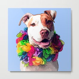 Dog in Flowers Metal Print