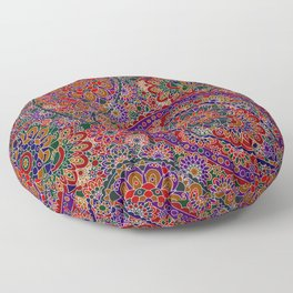Retro 1960's Paisley Pattern in Vibrant Red Floor Pillow