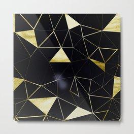Gold Triangle Geometric Pattern on Black Suede Metal Print