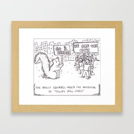 Rally Squirrel Cartoon Framed Art Print