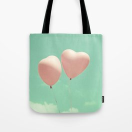 Close Love, Pink heart balloons on soft blue sky Tote Bag