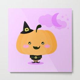 Halloween pumpkin in witch costume Metal Print