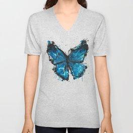 Blue butterfly ink splatter Unisex V-Neck