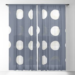 Shining Golden and White Colored Dot and Moon With Navy Background Sheer Curtain