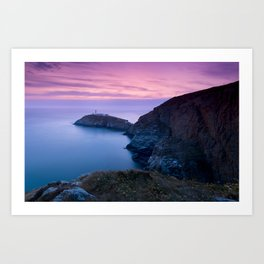 South Stack Lighthouse Sunset, Angelsey, Wales Art Print