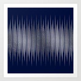 Linear Blue & Silver Art Print