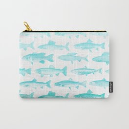 Fishes - Simple pattern in aqua on clear white Carry-All Pouch