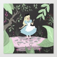 alice wonderland Canvas Prints featuring Wonderland by gabby ramirez